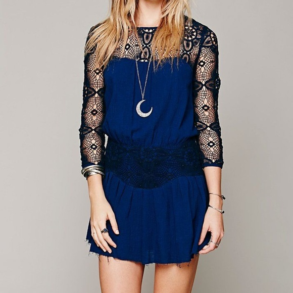Free People Dresses & Skirts - Free People Navy Caged Heart Dress